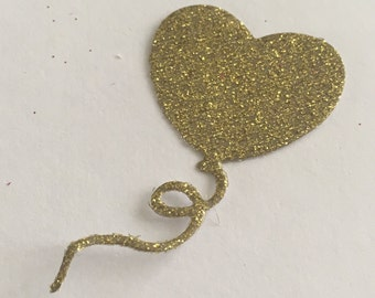 20 die cut balloons - gold glitter