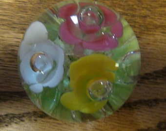 Vintage handblown Art Glass Floral paper weight