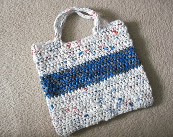 Tote made from recycled plastic bags (plarn).  White with blue/grey stripe....Free shipping!