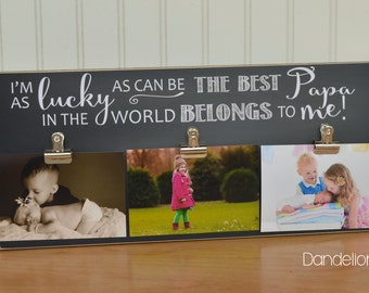 Grandpa Picture Frame {Lucky As Can Be... Best Papa... Belongs To Me!} Personalized Frame, Gift For Grandpa, Gift for Grandparents, 8x18