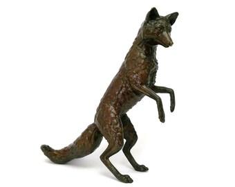 Hot Cast Solid Bronze Standing Fox