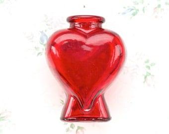Heart Glass Vase - Red Flower Vase