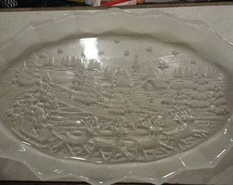 Beautiful crystal oval Christmas platter