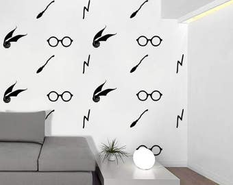 Harry Potter Icons Wall Decals - Broom, Golden Snitch, Glasses, Lightning Bolt Decals
