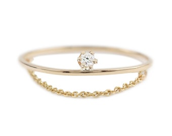 14k gold diamond chan ring, 1mm thin band, white diamond ring, delicate solitaire ring, rose gold, white gold, gol-r105
