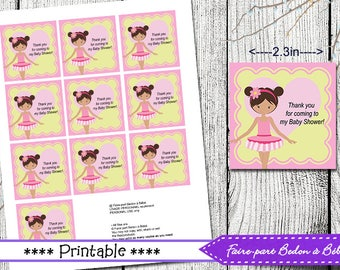 Baby Shower Tags - Ballerina Baby Shower tags - Printable Digital Download  - Baby Shower Favor Tags - Gift Tags - Tags - FavorTags
