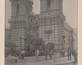 Lima Peru, Church of San Francisco. Print of 1892 Photo. Photographs of Famous Scenes by Charles H. Adams