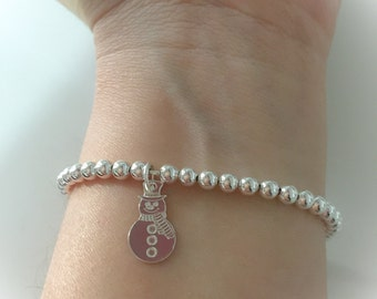 Silver bracelet with beads and pendant snowman 925