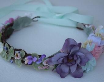 Lavender, Aqua & Pink Flower Crown - Flower Girl Crown- Photo Prop- Bridal Crown- Purple and Blue Flower Hair Wreath- Flower Girl Halo