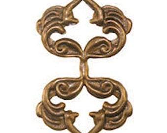 Trinity Vintage Brass Stamping 25x41mm NOUVEAU fold over bail (PKG 10) (msb1013)