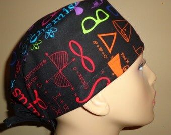 Skull cap , tie back , Scrub Cap , geek , math , science