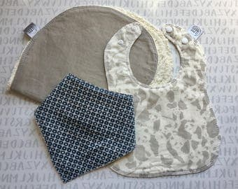 Taylor Baby Essentials Gift Set | boy baby bib | boy bandana bib | burp cloth | baby gift set | boy baby gift set | panda bear bib