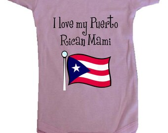 Baby One-Piece Body Suit -Personalized Gifts-I LOVE My Puerto Rican Mami - White, Blue or Pink One-Piece