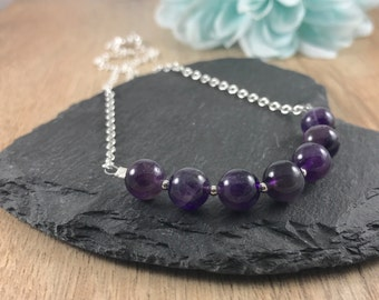 Amethyst necklace, february birthstone, a purple gemstone sterling silver chain necklace