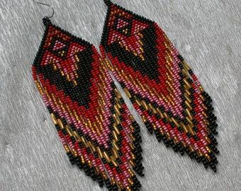 Long Indian style beads earrings , tribal style , boho style , peyote earrings , beaded earrings , Red Black Gold beaded earrings