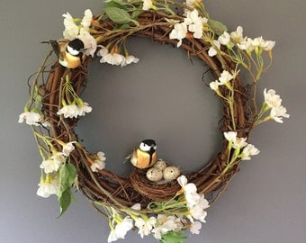 Spring wreath, Country wreath, Bird wreath, Catkins, spring blossom, Door wreath, Door decor, Natural wreath