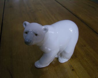 Lladro Attentive Polar Bear Figurine