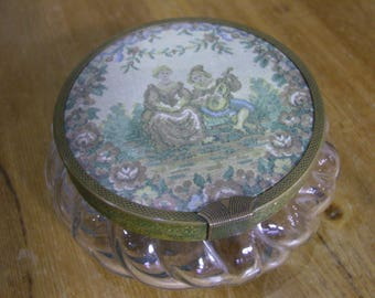 Vintage Glass Powder Jar