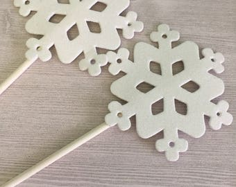 White Snowflake props - set of 2