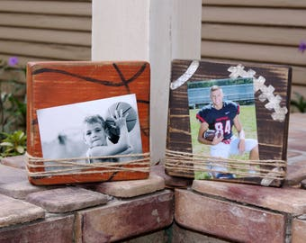Football themed block picture frame; basketball themed block picture frame; distressed picture frame; home decor