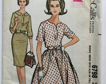 1950s Vintage Dress pattern, McCalls Sewing Pattern, dress with full or slim skirt, Size 14, Bust 34