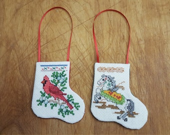 Counted Cross Stitch Cardinal and Carousel Stocking Ornaments - Set of Two
