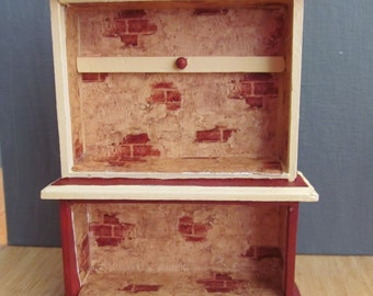 Painted Faux Brick Cabinet/Dollhouse Cupboard Furniture