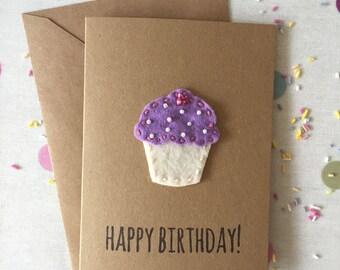 Cupcake Birthday Card - Lilic Cupcake Felt Cupcake Birthday Card - Recycled Kraft Cupcake Card