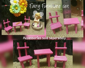 Fairy Furniture Doll House Miniature Table 2 Chairs