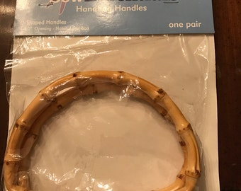 "Pair of Natural Bamboo Handbag Handles - D Shaped, 4 1/2"" Opening, New in Packaging"