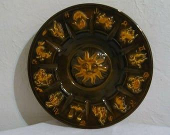 Vintage Zodiac Calendar Ceramic Plate, Bohemian Decor, Housewarming Gift