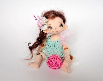 little doll-handmade rag doll-fabric dolls-ooak art doll-textile doll-unique doll-collectors doll-cloth doll-artist doll-decorative doll-