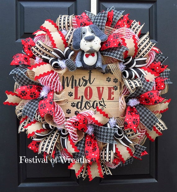 dog lover wreath dog deco mesh wreath dog lover front door. Black Bedroom Furniture Sets. Home Design Ideas
