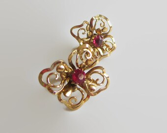 Pink Filigree Earrings, Signed Regel, Abstract Floral Motif, Rhinestone & Gold Filled Openwork, Retro Southern Charm!