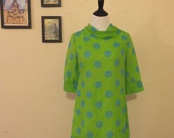 SALE 60s Vintage Green and Blue Polka Dot Dress