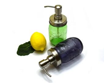 Mason Jar Soap Dispenser, Rust Resistant, Rust Proof Soap Dispenser, Green Mason Jar Dispenser, Purple Mason Jar Soap Dispenser, Glass Jar