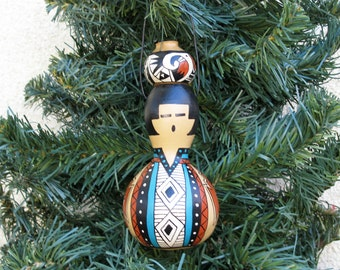 Southwestern Hand-painted Bottle Gourd Christmas Ornament with Miniature Pot Southwest Pottery Inspired #239