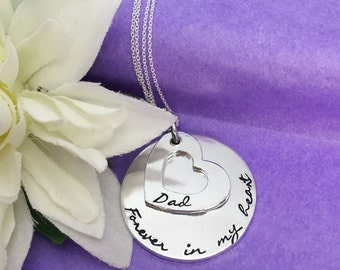Memorial Necklace - Memorial Pendant - Personalized Jewelry - Handstamped Memory Necklace - Mum Necklace - Dad Necklace - Personalized Gift