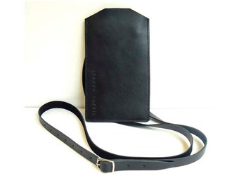 Black Leather Phone Case with detachable shoulder strap