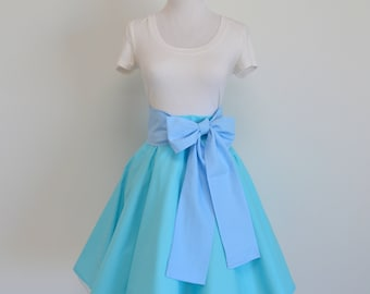 Peter Pan's Wendy Darling Inspired Robin's Egg Blue Circle Skirt with Light Blue Sash