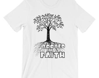 Christian T Shirts Rooted In Faith '16 - Christian Clothing - Jesus Shirt - Christian Apparel - Christian Gifts - Gift for Men