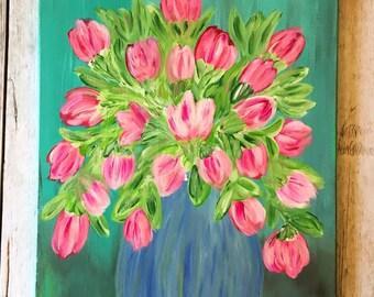 Tulips- Tulip Vase- Faux Tulips- Artificial Flowers- Tulip Painting- Pink Flowers- Pink Floral- Floral Painting- Flower Painting- Floral Art