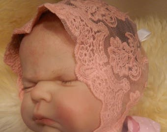 Reborn/Newborn Baby  bonnet in peach  lace for reborn dolls clothes baby homecoming Valentines day Photo prop Silicone reborn baby doll
