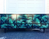 ON HOLD ||||| Lacquered Mid-century credenza| stunning credenza in black lacquer + palm leaf print wallpaper