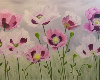 "Poppy Oil Painting, Flower Painting, Poppies, Poppy, Flower, Large, Original Oil Painting - ""Opium Poppies"" (30"" x 48"")"
