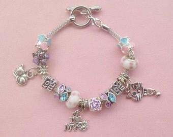 "Silver Plated European Style Charm Bracelet ""Love my Cat"" 1"