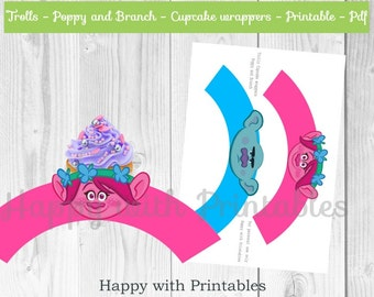 Trolls Cupcake wrappers - Trolls wrappers - Poppy Cupcake wrapper - Branch cupcake wrapper - Trolls printable - Trolls party printables