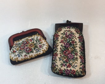 Vintage Tapestry Coin Purse and Eye Glass Case