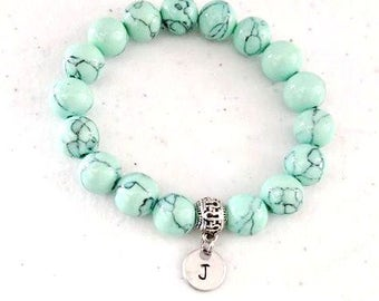 Turquoise Mint Beach Summer Beaded Stretch Bracelet