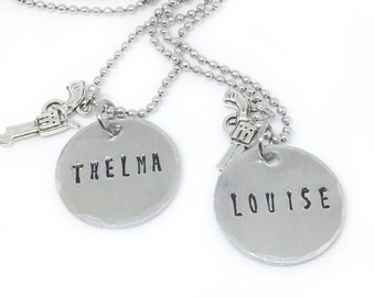 Thelma Louise Necklaces, 2 Best Friend Couples Necklace, Movie Jewelry, BFF Necklace Set, Hand Stamped Necklace Pair, Partners In Crime